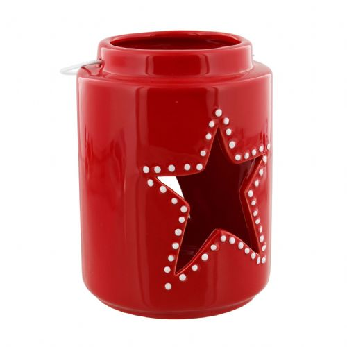 Red Ceramic Christmas Star Lantern Candle Holder